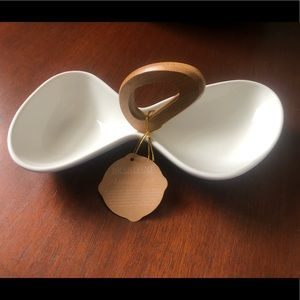 Brandani Appetizer Set - Porcelain w/ bamboo